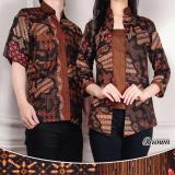 Beli 168 Collection Couple Batik Malaka Atasan Blouse Wanita Dan Kemeja Pria Coklat Cicilan
