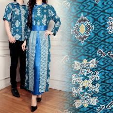 Tips Beli 168 Collection Couple Maxi Dress Shangrila Gamis Batik Biru Yang Bagus