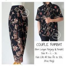 168 Collection Couple Rok Lilit Maxi Dan Kemeja Batik Hitam 168 Collection Murah Di Banten