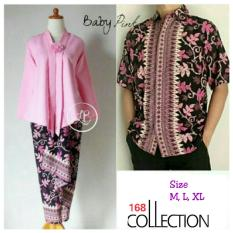 168 Collection Couple Stelan Atasan Blouse Halimah Kebaya Dan Rok Lilit Batik Baby Pink Terbaru