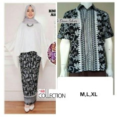 Promo 168 Collection Couple Stelan Atasan Blouse Kartini Kalong Dan Rok Plisket Batik Putih 168 Collection Terbaru