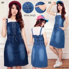 168 Collection Dress Midi Jeans Sindy Jeans Overall - Biru Tua