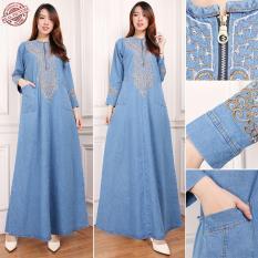 168 Collection Maxi Dress Qarija Gamis Jeans Wanita
