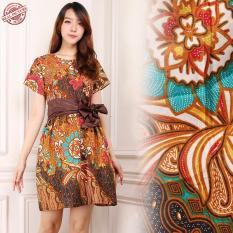 168 Collection Midi Dress Batik Oyaku Short Dress Terusan Wanita - Coklat 1ac363a891