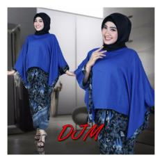 Jual 168 Collection Stelan Atasan Blouse Holly Batwing Dan Rok Lilit Batik Biru Branded Original
