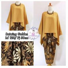 Spek 168 Collection Stelan Atasan Blouse Jasmine Batwing Dan Rok Lilit Batik Gold 168 Collection