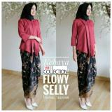 168 Collection Stelan Atasan Blouse Moniq Kebaya Dan Rok Lilit Batik Maroon Asli