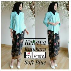 Spesifikasi 168 Collection Stelan Atasan Blouse Moniq Kebaya Dan Rok Lilit Batik Soft Blue Merk 168 Collection