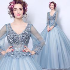 Jual Beli Online 1708046 Gaun Pengantin Biru Abu V Neck Lengan Panjang Wedding Gown Wedding Dress