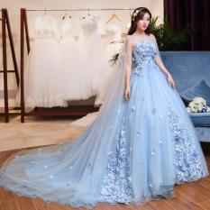 1708088 Gaun Pengantin Biru Sayap Ekor Wedding Gown Wedding Dress