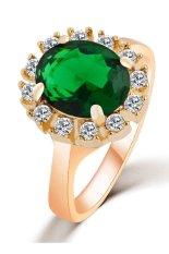 Jual 18 Karat Berlapis Emas Kristal Austria Cz Diamond Cincin Zirkon Hijau Ori