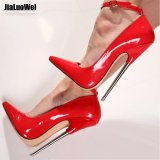 Iklan 18 Cm 7 Stiletto F*t*sh Sharp Toe Mary Janes Ankle Wrap High Heel Sepatu Pompa Spike High Heels Logam Intl