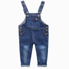2-7 T Merek Anak-anak Jeans Boys Girls Overall Denim Anak Suspender Jeans Celana Santai Fashion Anak-anak Keseluruhan Jeans Lubang Ritel-Intl