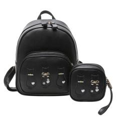 Beli 2 Bag Set Women Backpack Wallet Student Schoolbag Girls Travel Bags Black Intl Cicilan