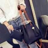 Review Terbaik 2 In 1 Women Pu Kulit Drawstring Bucket Bag Shoulder Bags Tas Multi Fungsional Tas Bahu Rumbai Cross Body Tas Hitam Intl