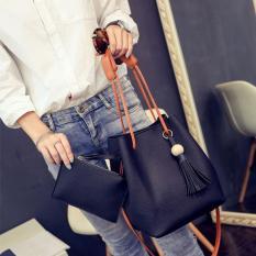 Harga 2 In 1 Women Pu Kulit Drawstring Bucket Bag Shoulder Bags Tas Multi Fungsional Tas Bahu Rumbai Cross Body Tas Hitam Intl Merk Oem