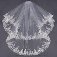 Jual Beli 2 Lapisan Kerudung Pengantin Gaun Pernikahan Satin Renda Tepi Siku Dengan Sisir Putih Krem New Internasional Hong Kong Sar Tiongkok