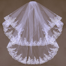 Harga 2 Lapisan Kerudung Pengantin Pernikahan Gaun Satin Renda Tepi Siku With Sisir Putih Intl Oem Hong Kong Sar Tiongkok