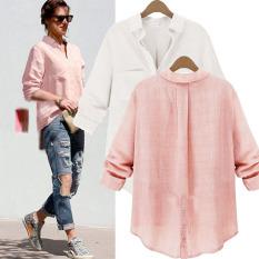 2 Buah Kemeja Wanita Kasual Lengan Baju Panjang Yang Longgar Mendorong Blusas Blus Fashion Musim Semi Kerja Ke Bawah Puncak Kerah Kemeja 2 Warnd (Berwarna Merah Muda, Riang) Ukuran S-5XL