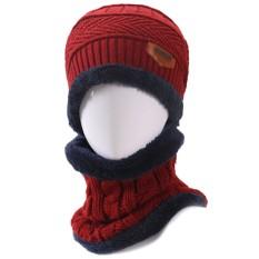 2 Pcs Unisex Topi Rajut Musim Dingin dan Masker Penghangat Multifungsi Set Syal Pria Tebal Kupluk Rajutan Topi Topi Kerpus Syal Hangat Merah-Intl