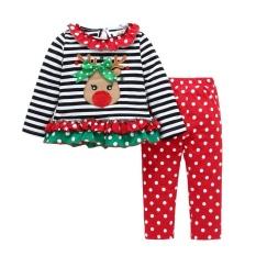 2 Sets dari Perapi Bayi Girl Bar Elk Pakaian Natal Pakaian