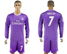 2016--2017 Real Madrid Football Team Away NO.7 RONALDO Cepat Pengeringan Bernapas Soccer Jersey Suits-Intl