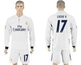Toko Jual 2016 2017 Real Madrid Sepakbola Tim Rumah No 17 Lucas V Cepat Pengeringan Bernapas Soccer Jersey Suits Intl