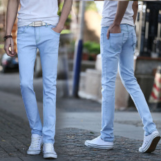 Jual 2016 Autumn Men S Fashion Slim Jeans Denim Trousers Feet Pants Light Blue Intl Baru