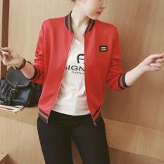 Jual 2016 Musim Gugur Musim Dingin Panjang Lengan Slim Jaket Kerah Vintage Berdiri Selebriti Pembom Kasual Padat Outwear Merah Grosir