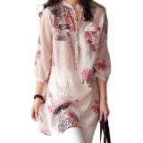 Beli 2016 Blusas Fashion Feminin Wanita Leher V Mendorong Ukuran Panjang Kemeja Linen Lebih Blus Kasual Antik Motif Bunga Merah Atas Zanzea Murah