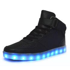 2016 Fashion membawa sepatu kets sepatu olahraga sepatu bot untuk anak-anak laki-laki dan perempuan sampai sepatu tinggi atas lampu LED 11warnd berkedip ulang Ankel sepatu Boots untuk pria wanita cowok cewek untuk Halloween - International