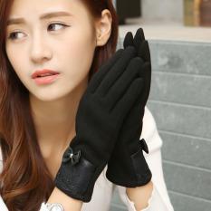 Diskon 2016 Fashion Wanita Kulit Pu Pita Renda Sarung Tangan Musim Dingin Wanita Perempuan Gadis Layar Sentuh Sarung Tinju Domba Wol Sarung Tangan Guantes Hitam International Oem Di Tiongkok
