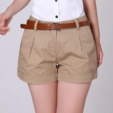 Diskon 2016 Musim Panas Korea Wanita Cotton Shorts Wanita Kasual Short Trousers Solid Warna Khaki White Tidak Termasuk Belt Intl Akhir Tahun