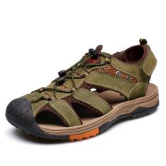 2016 Pria Luar Yang Nyaman Sandal Sandal Karet Sole Kulit Asli Cowhide Casual Summer BEACH SANDAL Sepatu (Hijau Army)