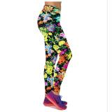 Obral 2016 Kedatangan Baru 12 Warna Wanita Tinggi Pinggang Kebugaran Olahraga Yoga Celana Floral Printed Peregangan Elastis Menjalankan Gym Legging Gaya 15 Intl Murah