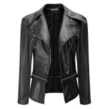Diskon 2017 New Fashion Women Slim Biker Motorcycle Soft Synthetic Leather Zipper Jacket Coat Black Intl