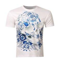 Toko 2016 Pria Baru 3D Lengan Bang Pendek T Shirt Printed Skull Termurah