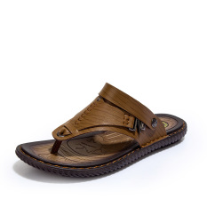Promo Toko 2016 Pria Baru Flip Flops Kulit Asli Sandal Summer Fashion Beach Sandal Sepatu Khaki Intl