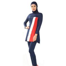 2016 Baju Renang Muslim Baru Beach Mandi Suit Berhijab   Swimwear Navy Blue