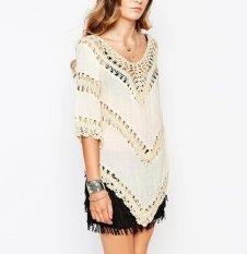 2016 Baru Musim Panas Pantai Shirt Collar Merajut Jahitan Tassel V Tujuh Hollow Lengan Blus Dress Grosir-Intl