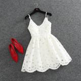Tips Beli 2016 Baru Musim Panas Gaun Putri Off Bahu Seksi Merah Putih Renda Gaun Deep V Neck Backless Tutu Harness Dress Intl
