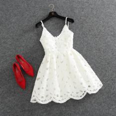 Ulasan Lengkap 2016 Baru Musim Panas Gaun Putri Off Bahu Seksi Merah Putih Renda Gaun Deep V Neck Backless Tutu Harness Dress Intl