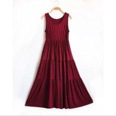2016 Musim Panas Gaun Longgar Pengandaian Pragrent Rok Wanita Memakai Rok Gaun Boneka Kue Besar Merah Anggur-Internasional