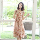 Beli 2016 Summer Baru Korea Wanita Slim Lengan Pendek Floral Chiffon Dress Kredit Tiongkok