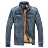 Harga 2016 Winter Mens Kulit Pu Berkualitas Jaket Menambahkan Beludru Hangat Mantel Kulit Berdiri Kerah Zipper Jaket Blue Intl Di Tiongkok
