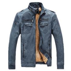 Beli 2016 Winter Mens Kulit Pu Berkualitas Jaket Menambahkan Beludru Hangat Mantel Kulit Berdiri Kerah Zipper Jaket Blue Intl Oem Asli