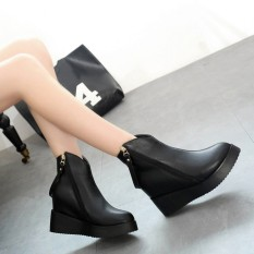 2016 Wanita Musim Dingin Wedge Zip Ankle Sepatu Bot Sepatu Bot Platform Tersembunyi Tumit Sepatu