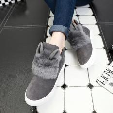 2017 Musim Gugur dan Musim Dingin Jual Panas Musik Berkat Bot Wanita Rabbit Ears Mewah Sepatu Sarung Tangan Sarung Tangan Lazy Sepatu Pendek Sepatu kasual Wanita Sepanjang Bot Grey-Internasional