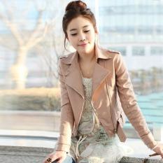 2017 Musim Gugur Korea Versi Siswa Pink Kulit Wanita Bagian Pendek Slim Apakah Tipis PU Lokomotif Jaket Kulit-Pink- INTL