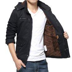 Jual 2017 Pria Musim Gugur Jaket Pakaian Zipper Pria Mantel Kasual Pakaian Solid Tebal Outwear Army Jaket Katun M Hitam Intl Murah Di Tiongkok